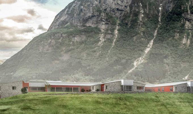 Eidfjord Bygdaheim ritat av b+b Arkitekter med BWM bärverkssystem. Illustration b+b Arkitekter.